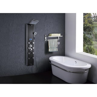51-inch Black 8-jet Handheld Massage Shower Panel Faucet Mixer