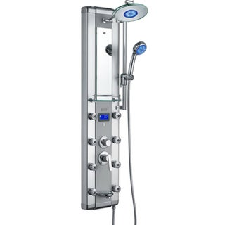 AKDY 51 Inch Aluminum Shower Panel With Tower Massage Spa System Kits LED  Rainfall Showerhead