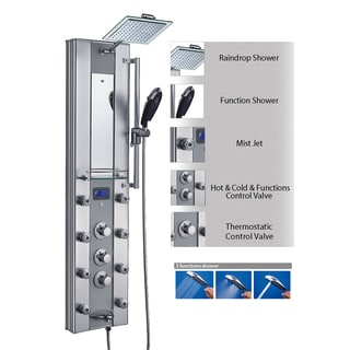 AKDY 51-inch Aluminum Shower Panel with Tower Massage Spa System Kits LED Rainfall Shower Head Thermostatic Control