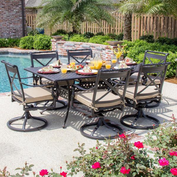 Shop Carrolton 6-Person Cast Aluminum Patio Dining Set With Swivel Rockers And Rectangular Table ...
