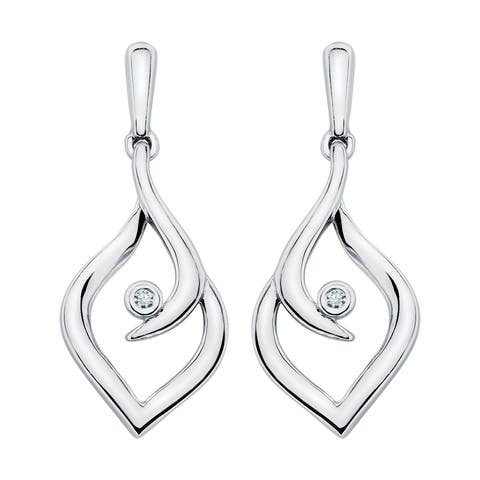 Boston Bay Diamonds 925 Sterling Silver .02ct TDW Diamond Accent Fashion Earrings