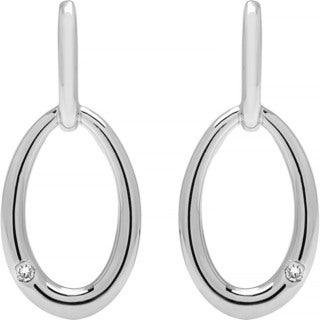 Boston Bay Diamonds 925 Sterling Silver .02ct TDW Diamond Accent Oval Dangling Fashion Earrings - N/A