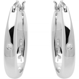 Boston Bay Diamonds Sterling Silver Diamond Accent Oval Tapered Hoop Earrings