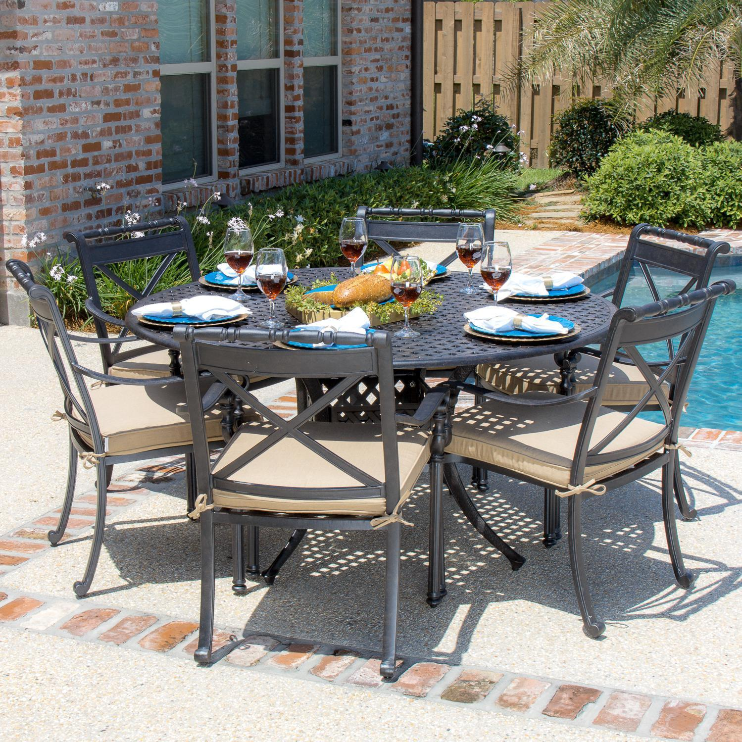 Shop Carrolton 6 Person Cast Aluminum Patio Dining Set With Round Table Overstock 10333459