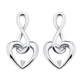 Boston Bay Diamonds 925 Sterling Silver .02ct TDW Diamond Accent Infinity Heart Earrings - N/A