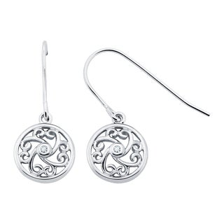 Boston Bay Diamonds Sterling Silver Diamond Accent Heart Shaped Scroll Earrings