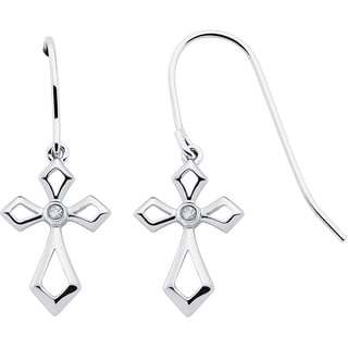Boston Bay Diamonds Sterling Silver Diamond Accent Cross Fashion Earrings