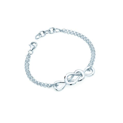 .925 Sterling Silver Diamond Accent Forever Infinity Charm Bracelet