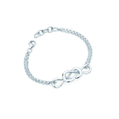 Boston Bay Diamonds 925 Sterling Silver .01ct TDW Diamond Accent Inifinity Fashion Bracelet