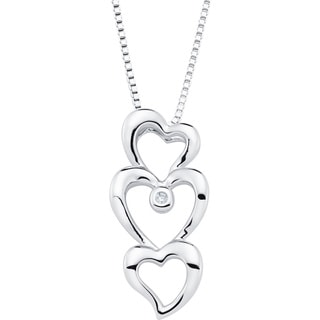 Boston Bay Diamonds Sterling Silver Diamond Accent Triple Heart Fashion Pendant