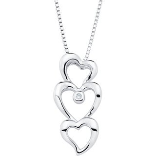 Boston Bay Diamonds 925 Sterling Silver .01ct TDW Diamond Accent Triple Heart Fashion Pendant w/ Chain - White H-I