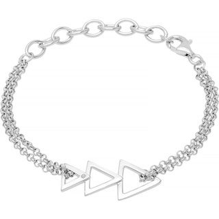 Boston Bay Diamonds 925 Sterling Silver .01ct TDW Diamond Accent Triangle Fashion Bracelet