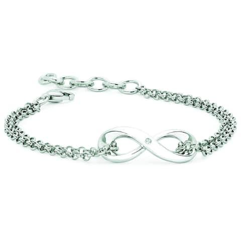 Boston Bay Diamonds 925 Sterling Silver .01ct TDW Diamond Accent Infinity Fashion Bracelet