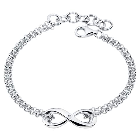 Boston Bay Diamonds 925 Sterling Silver .01ct TDW Diamond Accent Infinity Fashion Bracelet