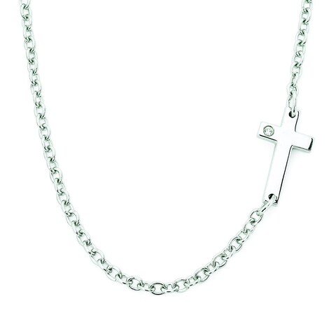Boston Bay Diamonds 925 Sterling Silver .01ct TDW Diamond Accent Sideways Cross Necklace