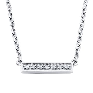 Boston Bay Diamonds Sterling Silver Diamond Accent Studded Bar Fashion Necklace