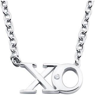 Boston Bay Diamonds 925 Sterling Silver .01ct TDW Diamond Accent XO Fashion Pendant w/ Chain - White H-I