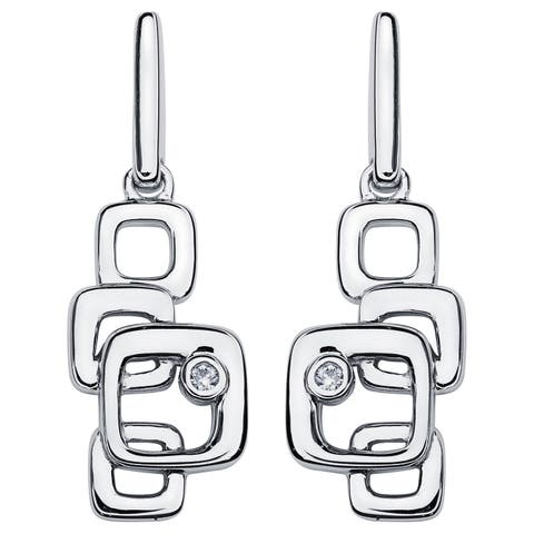 Boston Bay Diamonds 925 Sterling Silver .02ct TDW Diamond Accent Stacked Squares Fashion Earrings