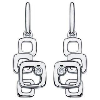 Boston Bay Diamonds 925 Sterling Silver .02ct TDW Diamond Accent Stacked Squares Fashion Earrings - N/A