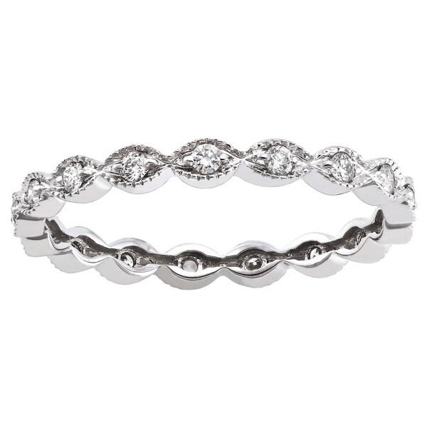 10K White Gold 1/4ct TDW Diamond Vintage Inspired Eternity Band Ring - White H-I