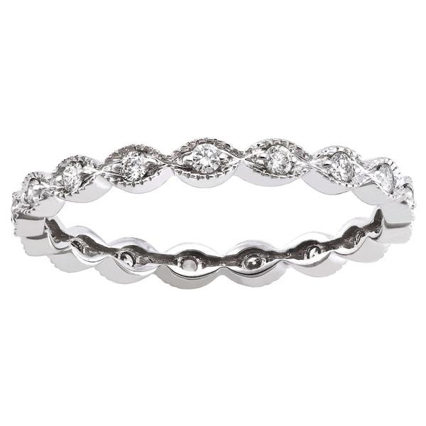 10K Gold 1/4ct TDW Diamond Vintage Inspired Eternity Wedding Band Ring (H-I, I2-I3) - White H-I
