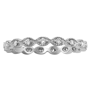 10K Gold 1/4ct TDW Diamond Vintage Inspired Eternity Wedding Band Ring (H-I, I2-I3) - White H-I