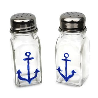 Hand-painted Blue Nautical Anchor Glass Salt and Pepper Shaker Set Atkinson Creations