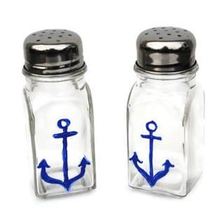Hand-painted Blue Anchor Glass Salt and Pepper Shaker Set