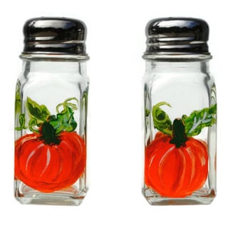 Hand-painted Pumpkin Glass Salt and Pepper Shaker Set