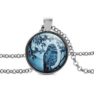Atkinson Creations Blue Moon Owl Glass Dome Pendant Necklace