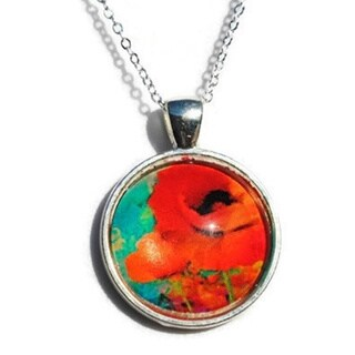 Atkinson Creations Red Poppy Glass Dome Circle Pendant Necklace