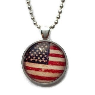 Atkinson Creations American Flag Glass Dome Pendant Necklace