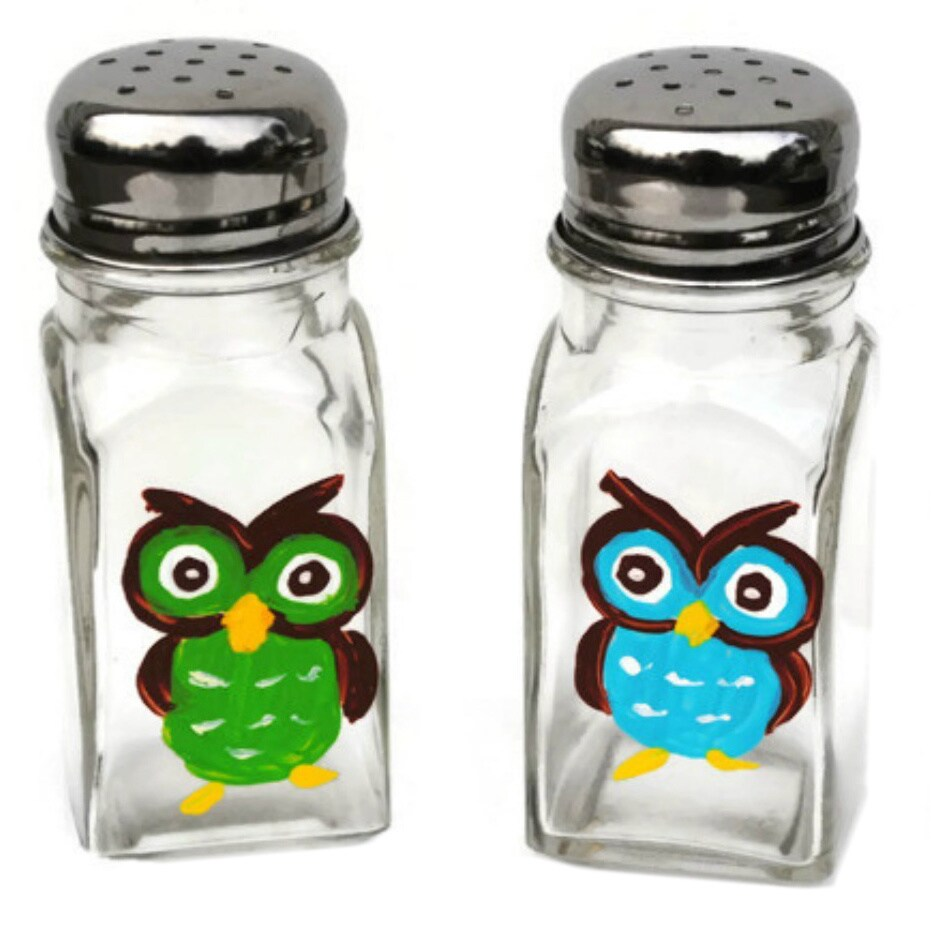 Hand-painted Cute Hoot Owl Glass Salt and Pepper Shaker S...