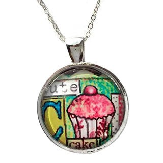 Atkinson Creations Cute Cupcake Glass Dome Pendant Necklace