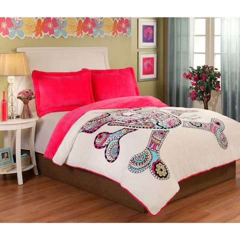 Punk Love Sugar Skull Velvet Plush 3-piece Comforter Set