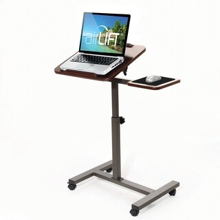 "AIRLIFT Walnut Tilting Laptop Computer Desk Cart with Mouse Pad Table Adjustable Height Range 27.5"" to 40"""