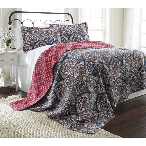 Amraupur Overseas Sanya 100-percent Cotton 3-piece Reversible Quilt Set