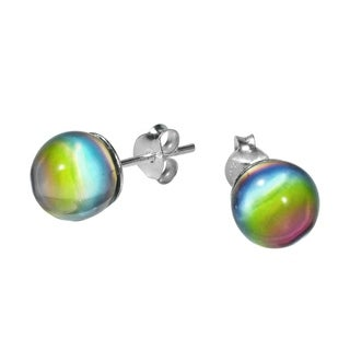 Handmade 8mm Rainbow Glass Ball .925 Sterling Silver Stud Earrings (Thailand)