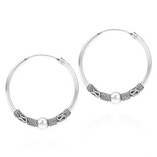 Tribal Bali Style Sterling Silver 30mm Hoop Earrings (Thailand)