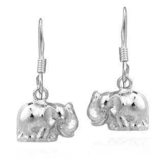 Handmade Darling Mini Thai Elephant Sterling Silver Dangle Earrings (Thailand)