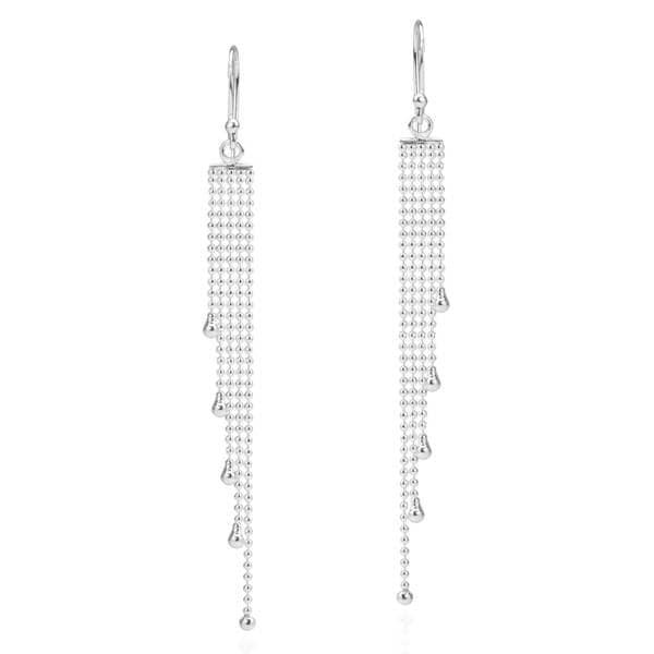 Handmade Multi Beaded Chain Drop .925 Sterling Silver Earrings (Thailand)