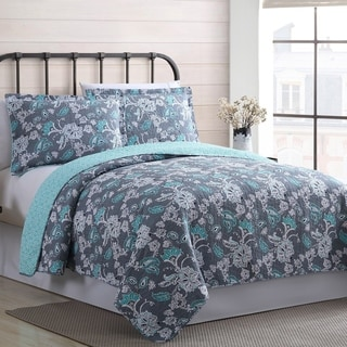 Amrapur Overseas Agnes 100-percent Cotton 3-piece Reversible Quilt Set