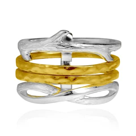 Handmade Interconnected Branch Gold Vermeil Sterling Silver Ring (Thailand)