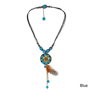 Passion Flower Stone with Feather Cotton Rope Necklace (Thailand)