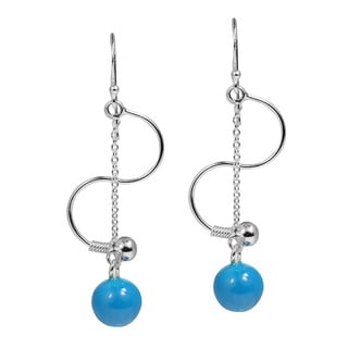 Handmade Turquoise Chain Drop S Curve .925 Silver Dangle Earrings (Thailand)