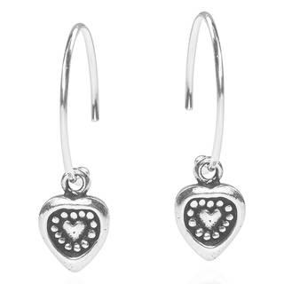 Always In My Heart Hoop Dangle Hilltribe Art Sterling Silver Earrings