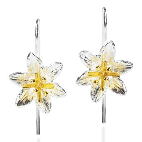 Handmade Sweet Lily Two Tone 18k Gold Overlay 925 Silver Earrings (Thailand)
