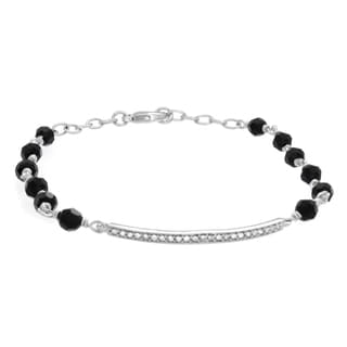 Sterling Essentials Rhodium Plated Bar Bracelet Made with Jet Colored Crystals