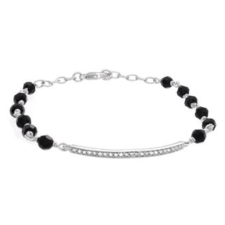 Rhodium Plated Bar Bracelet Made with Jet Colored Crystals