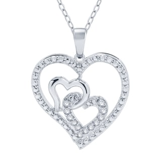 Divina Sterling Silver 1/10ct TDW Diamond Heart Pendant (I-J, (I2-I3)